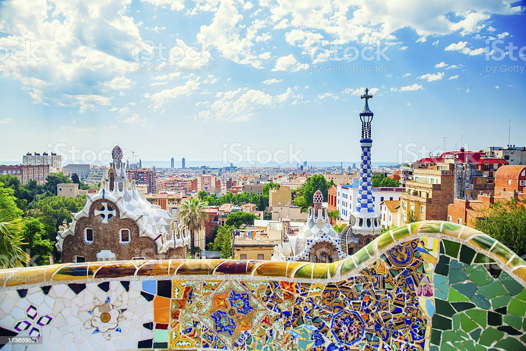 Panoramic view of Park Guell in Barcelona, Spain royalty-free stock photo