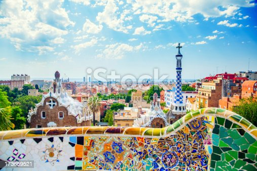 istock Panoramic view of Park Guell in Barcelona, Spain 173659521