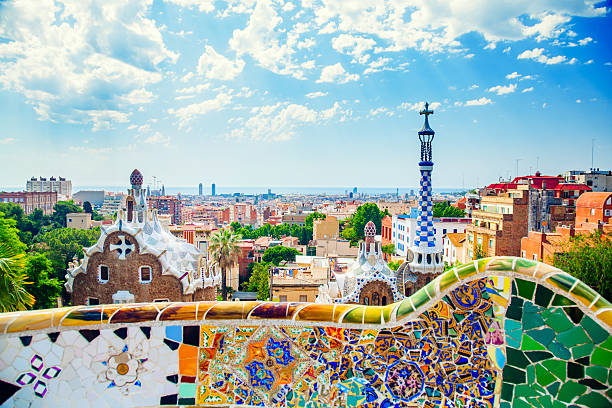 Panoramic view of Park Guell in Barcelona, Spain stock photo
