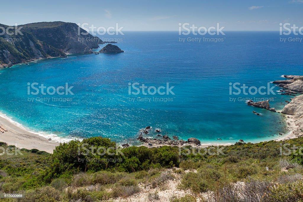 Panoramic view of Petani Beach, Kefalonia, Greece stock photo