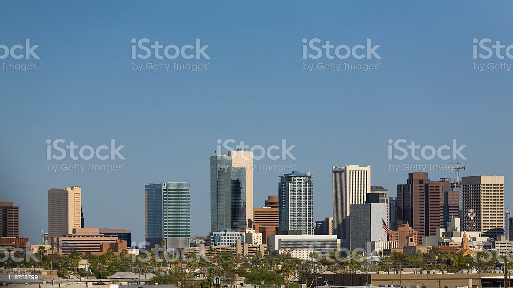 A panoramic view of Phoenix's downtown on a clear day royalty-free stock photo