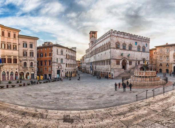 Panoramic view of Piazza IV Novembre, Perugia, Italy - foto stock
