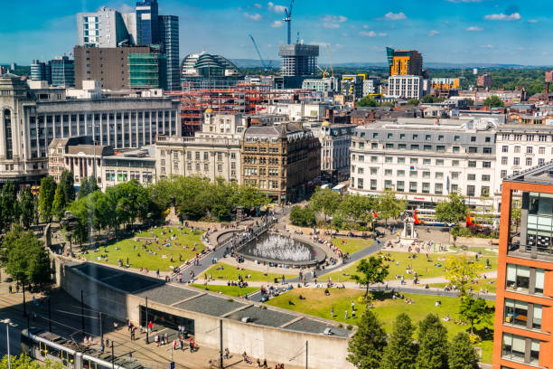 Panoramic view of Piccadilly Gardens and its surroundings in Manchester, England. stock photo
