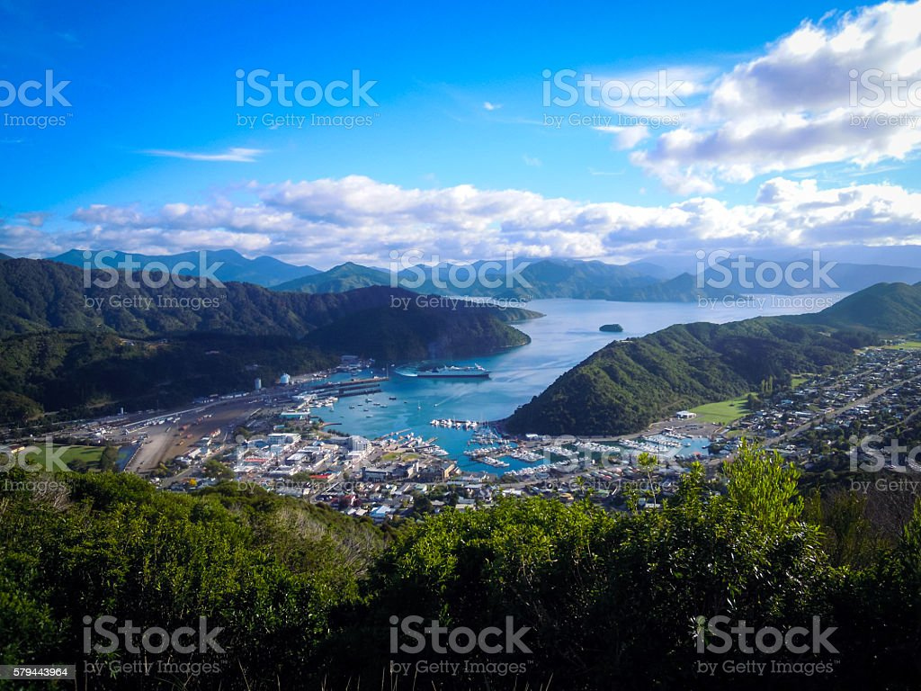 Panoramic view of Picton, New Zealand stock photo