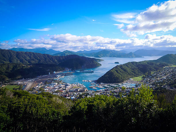 Panoramic view of Picton, New Zealand – Foto