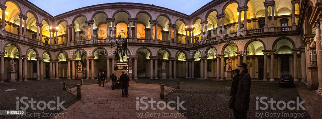 Panoramic view of Pinacoteca di Brera Courtyard, Milan stock photo