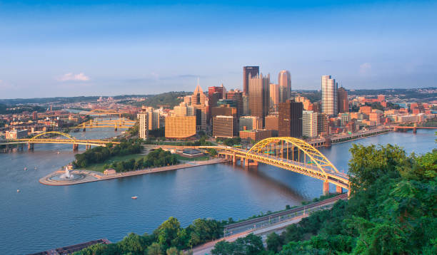 Panoramic view of Pittsburgh and the 3 rivers Urban Skyline, City, Bridge - Built Structure, Cityscape, Dusk pittsburgh stock pictures, royalty-free photos & images