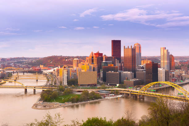 Panoramic view of Pittsburgh and the 3 rivers Panoramic view of Pittsburgh and the 3 rivers, Pittsburgh, Pennsylvania, USA pittsburgh stock pictures, royalty-free photos & images