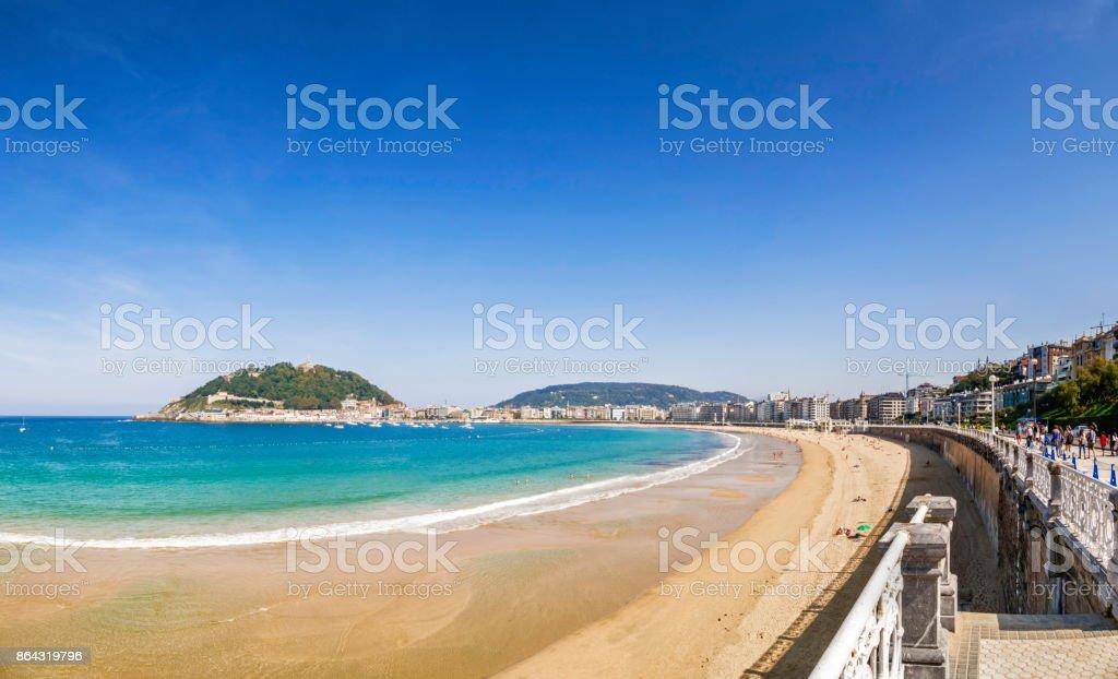 Panoramic view of Playa de La Concha, San Sebastian, Donostia, Basque Country, Spain stock photo
