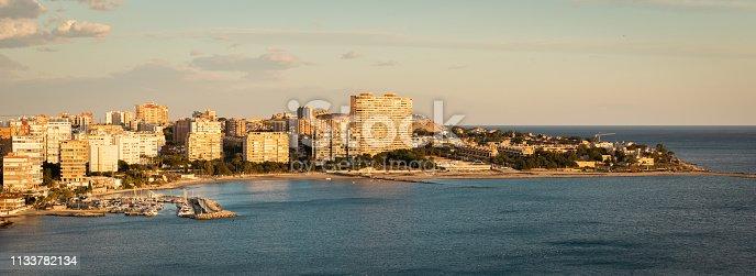 Panoramic view of Playa De San Juan, Alicante, Spain. During golden sunset.