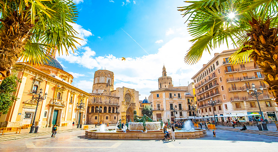 Valencia, Spain - 4 March, 2020: Panoramic view of Plaza de la Virgen (Square of Virgin Saint Mary) and old town
