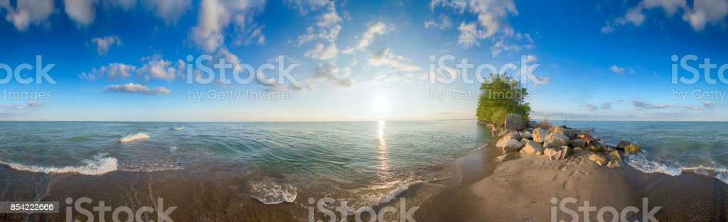 Panoramic view of Point Pelee National Park beach in the summer at sunset time, stock photo