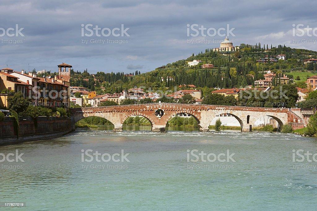 Panoramic view of Ponte Pietra in Verona royalty-free stock photo