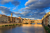 Panoramic View of Ponte Vecchio and Arno river in Florence, Italy