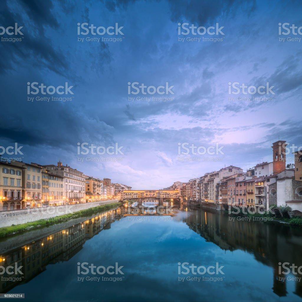 Panoramic view of Ponte Vecchio Bridge, Florence stock photo