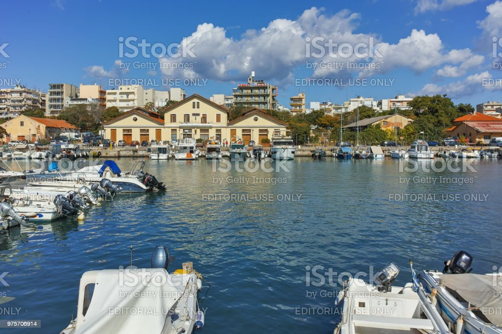 Panoramic view of Port and town of Alexandroupoli, East Macedonia and Thrace, Greece stock photo