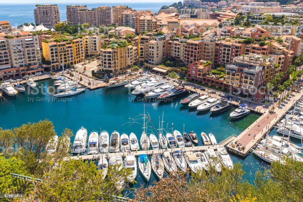 Panoramic view of Port de Fontvieille, Principality of Monaco stock photo