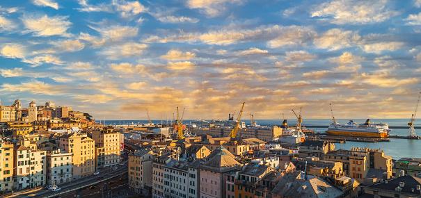 Genoa: Panoramic view of port of Genoa with colorful houses on italian coastline.