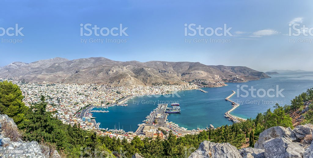 Panoramic view of Pothia Kalymnos island capital in Dodecanese Greece stock photo