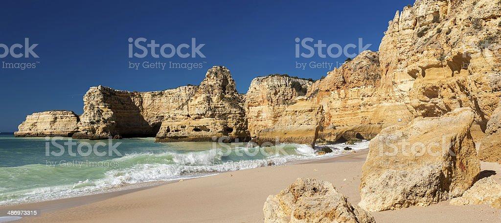 Panoramic view of Praia da Marinha in Algarve, Portugal. stock photo
