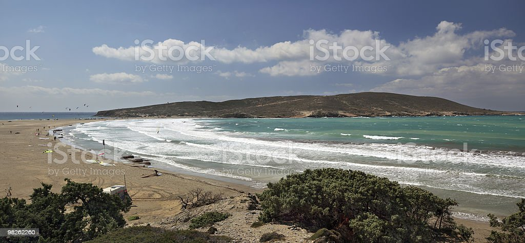 Panoramic view of Prasonisi cape, Rhodes island - Greece royalty-free stock photo