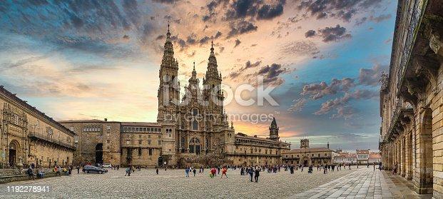 Panoramic view of Praza do Obradoiro and Cathedral, in Santiago de Compostela, Galicia, Spain