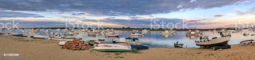 Panoramic view of Punta Umbria fishing port at sunset stock photo