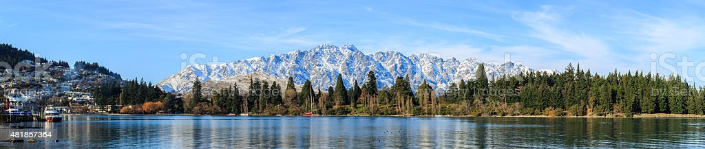 panoramic view of Queenstown stock photo