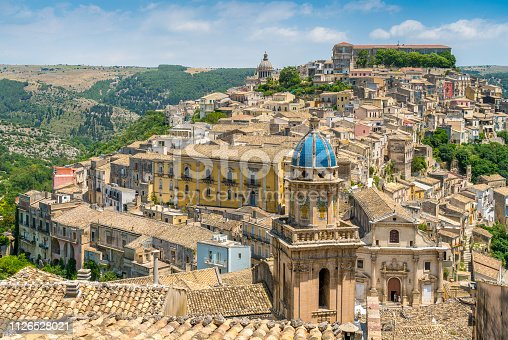 Panoramic view of Ragusa Ibla, baroque town in Sicily (Sicilia), southern Italy.