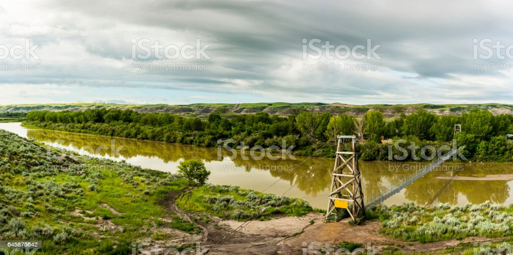 Panoramic view of Red Deer River stock photo