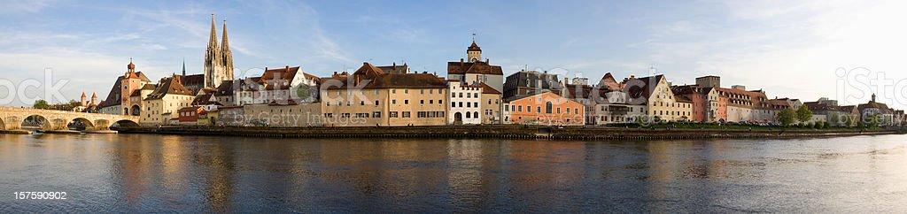 Panoramic view of Regensburg city stock photo