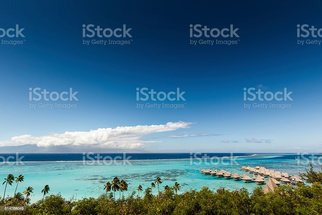 Panoramic View of Resort in French Polynesia stock photo