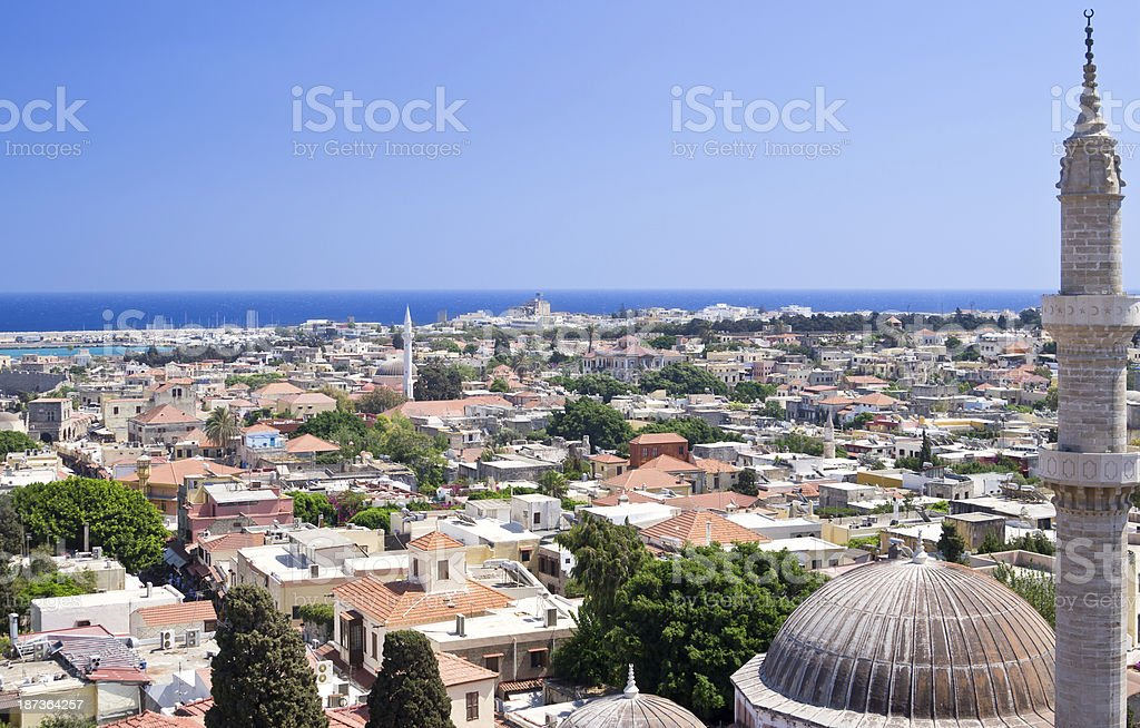 Panoramic view of Rhodes old town stock photo