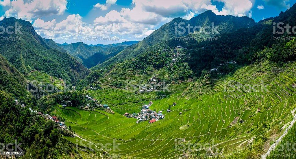 Panoramic view of rice terraces. Batad, Philippines stock photo