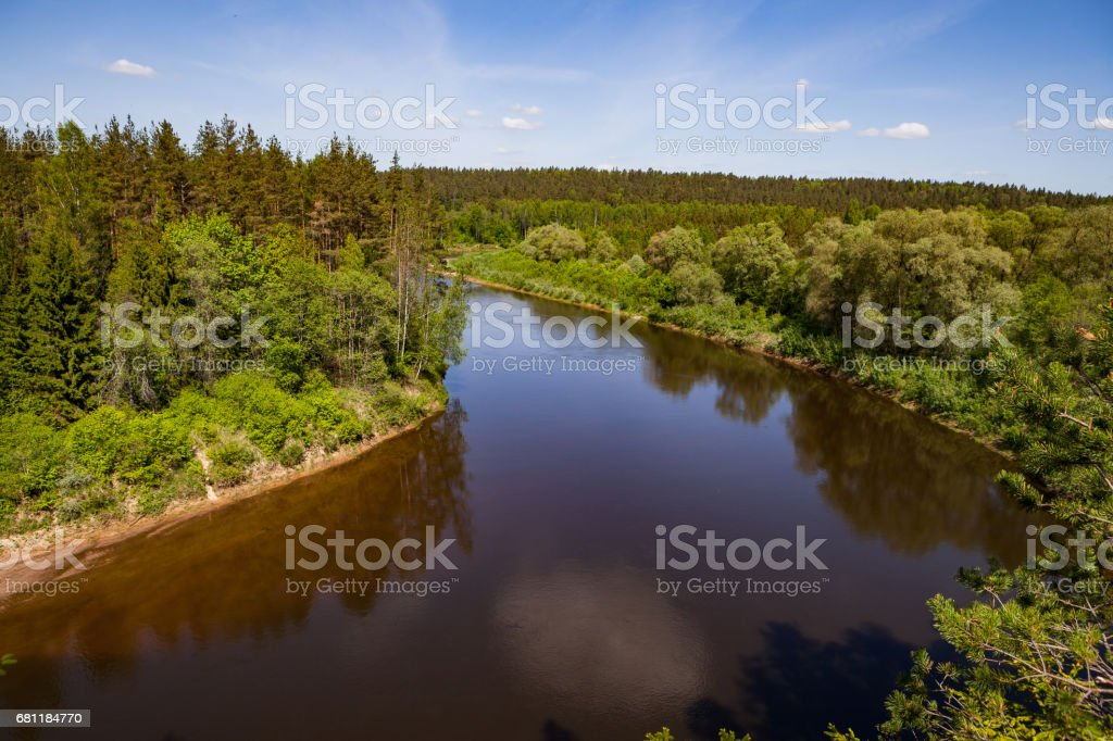 Panoramic view of river Gauja turn from path on the hill. Gauja National park, Latvia. royalty-free stock photo