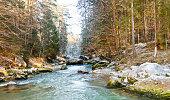 Panoramic view of river Loisach near Garmisch- Partenkirchen in Upper Bavaria, Germany