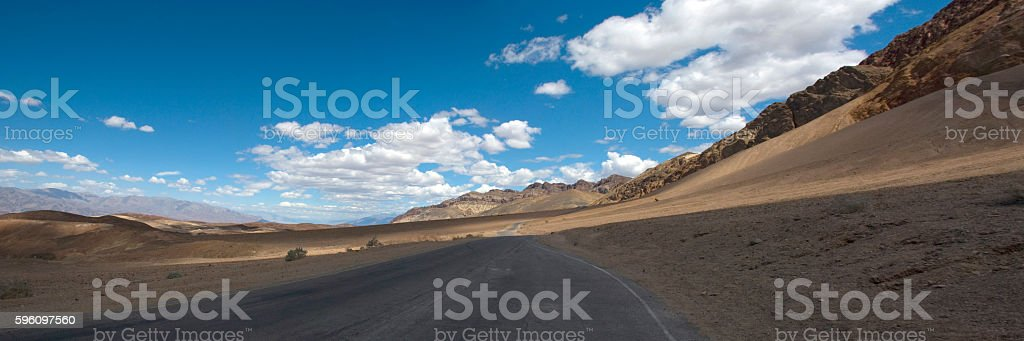 panoramic view of road through death valley desert, California royalty-free stock photo