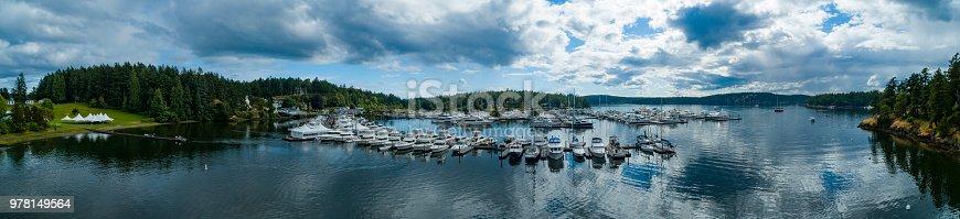 Panoramic View of Roche Harbor Washington USA in San Juan Islands