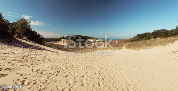 Panoramic view of rolling sand dunes at Warren Dunes State Park, Michigan