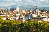 Panoramic view of Rome from Castel Sant'Angelo, Italy