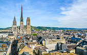 Panoramic view of Rouen, with the gothic Cathedral of Notre-Dame, on a sunny afternoon. Normandy, France.
