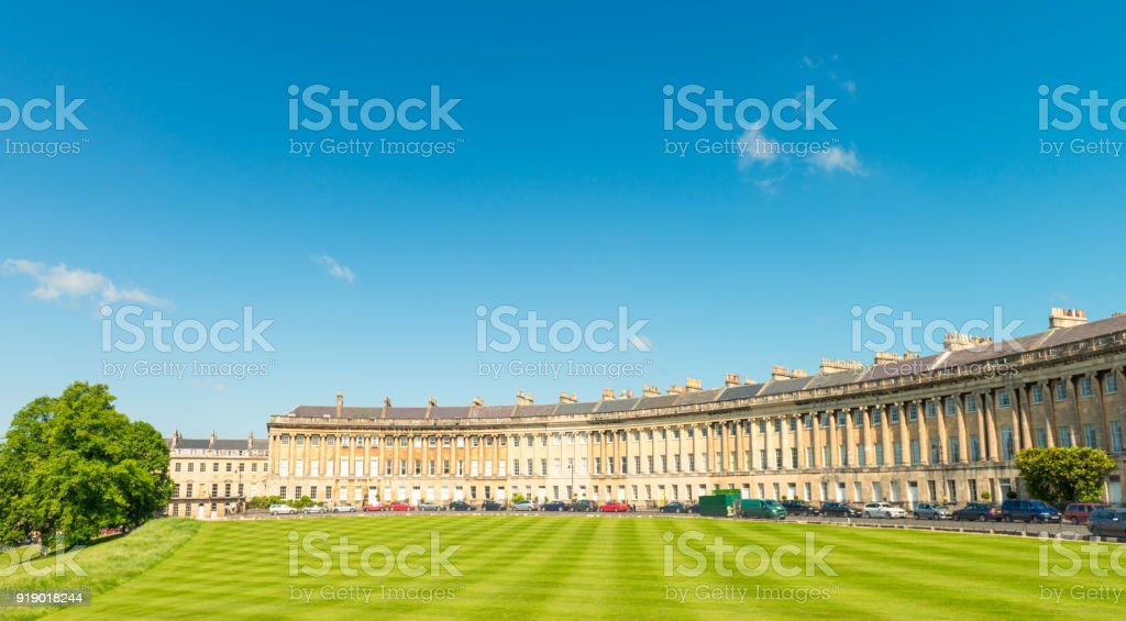 Panoramic view of Royal Crescent in Bath, England stock photo