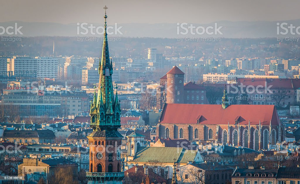 Panoramic view of Royal Wawel Castle in Krakow stock photo