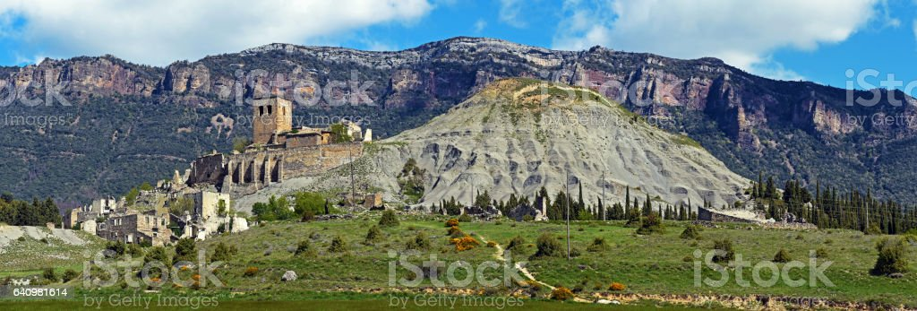 Panoramic view of Ruins of abandoned village Esco in Spain stock photo