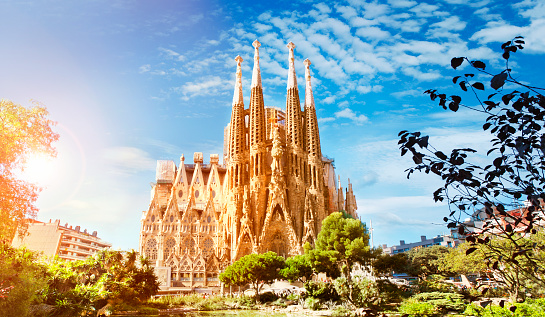 Panoramic view of Sagrada Familia cathedral in Barcelona