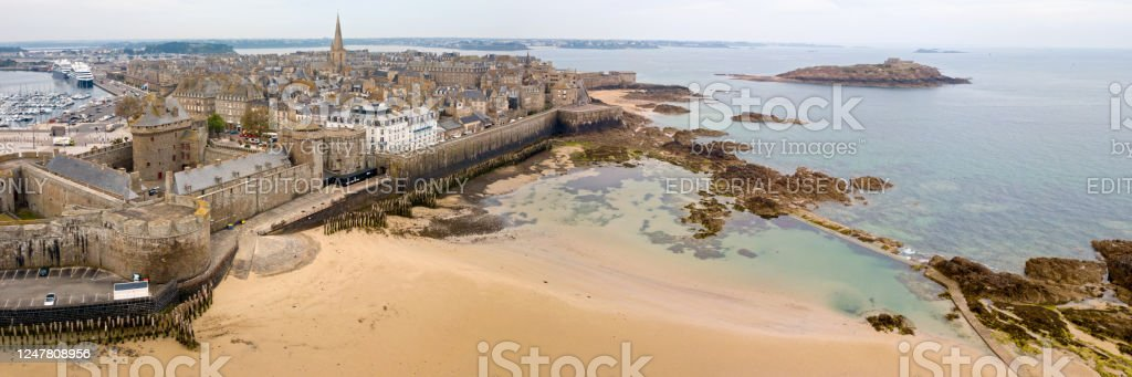 Panoramic view of  Saint-Malo in Brittany - Royalty-free Aerial View Stock Photo