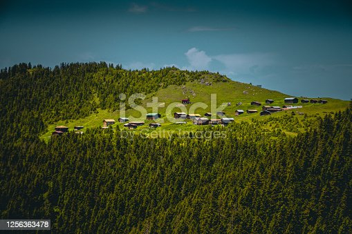 Landscape of beautiful Sal Yaylası view from the Pokut highland with traditional wooden houses in Çamlıhemşin, Rize in Blacksea region of Turkey