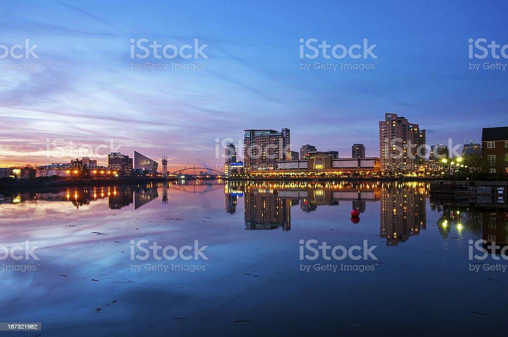 panoramic view of salford quays stock photo