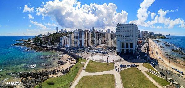 istock Panoramic view of Salvador city, Bahia, Brazil - View from the Farol da Barra tower (Barra Lighthouse). 1166863732