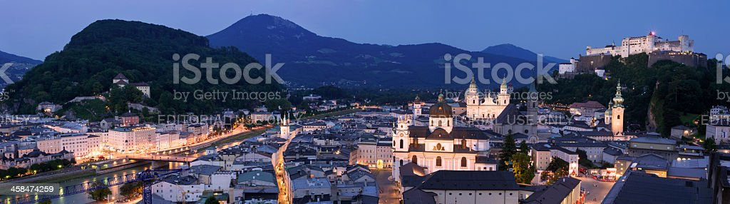 Panoramic view of Salzburg, Austria at night stock photo